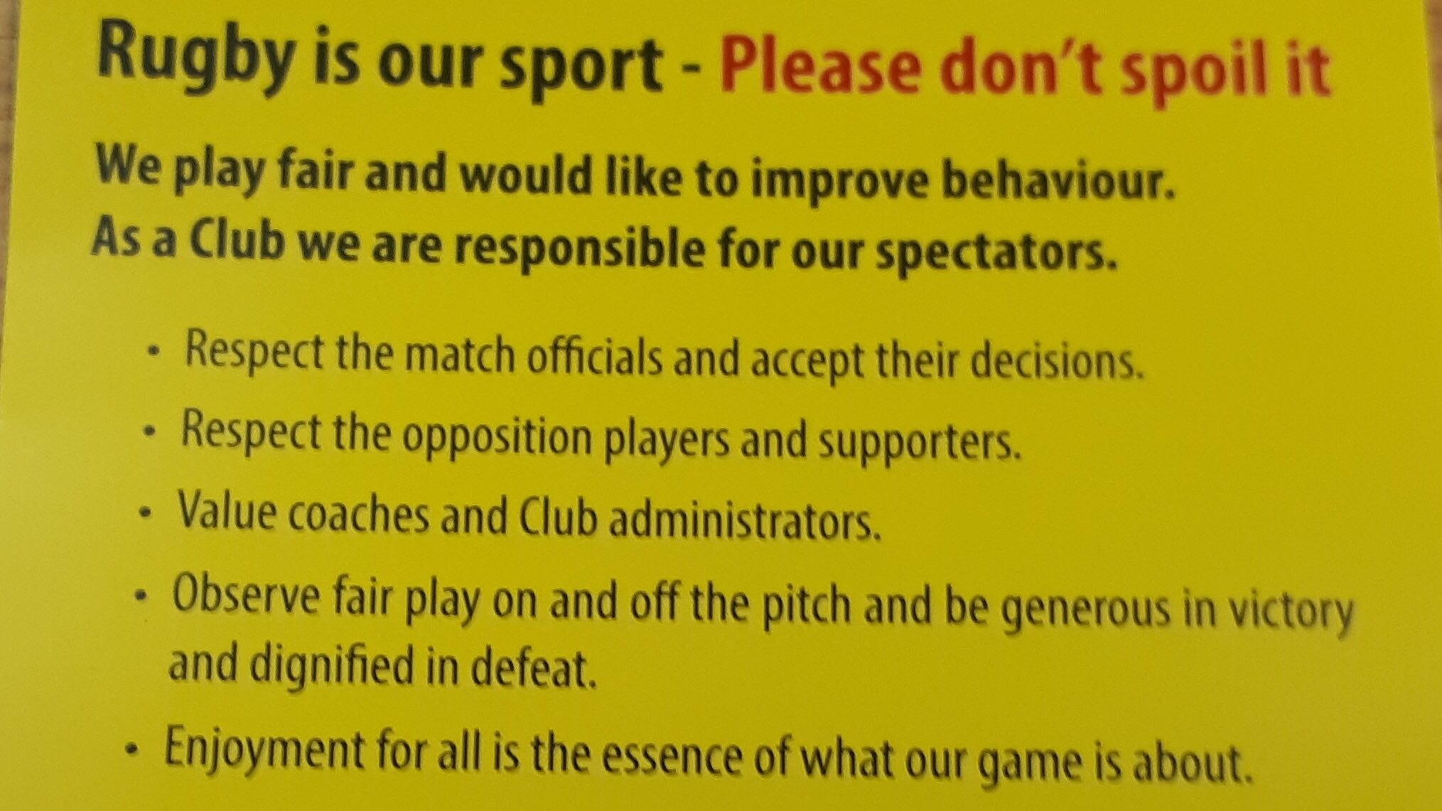 North Midlands pitch side behaviour initiative