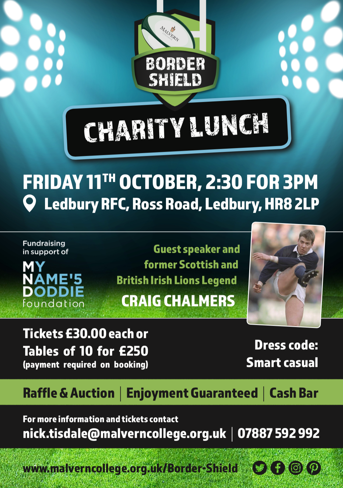 British and Irish Lion Craig Chalmers at fundraising event for My Name'5 Doddie Wier Foundation