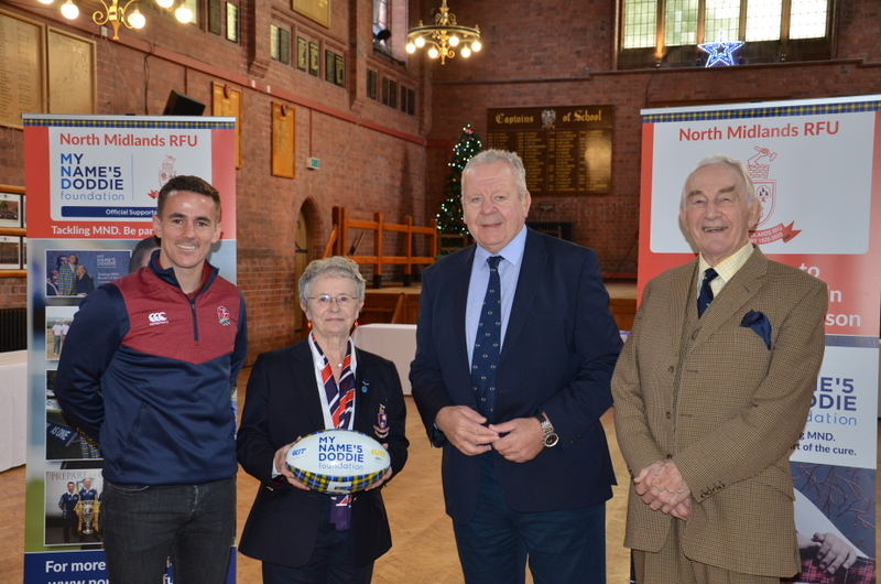 Luke Pearce and Sir Bill Beaumont at recent North Midlands centenary event