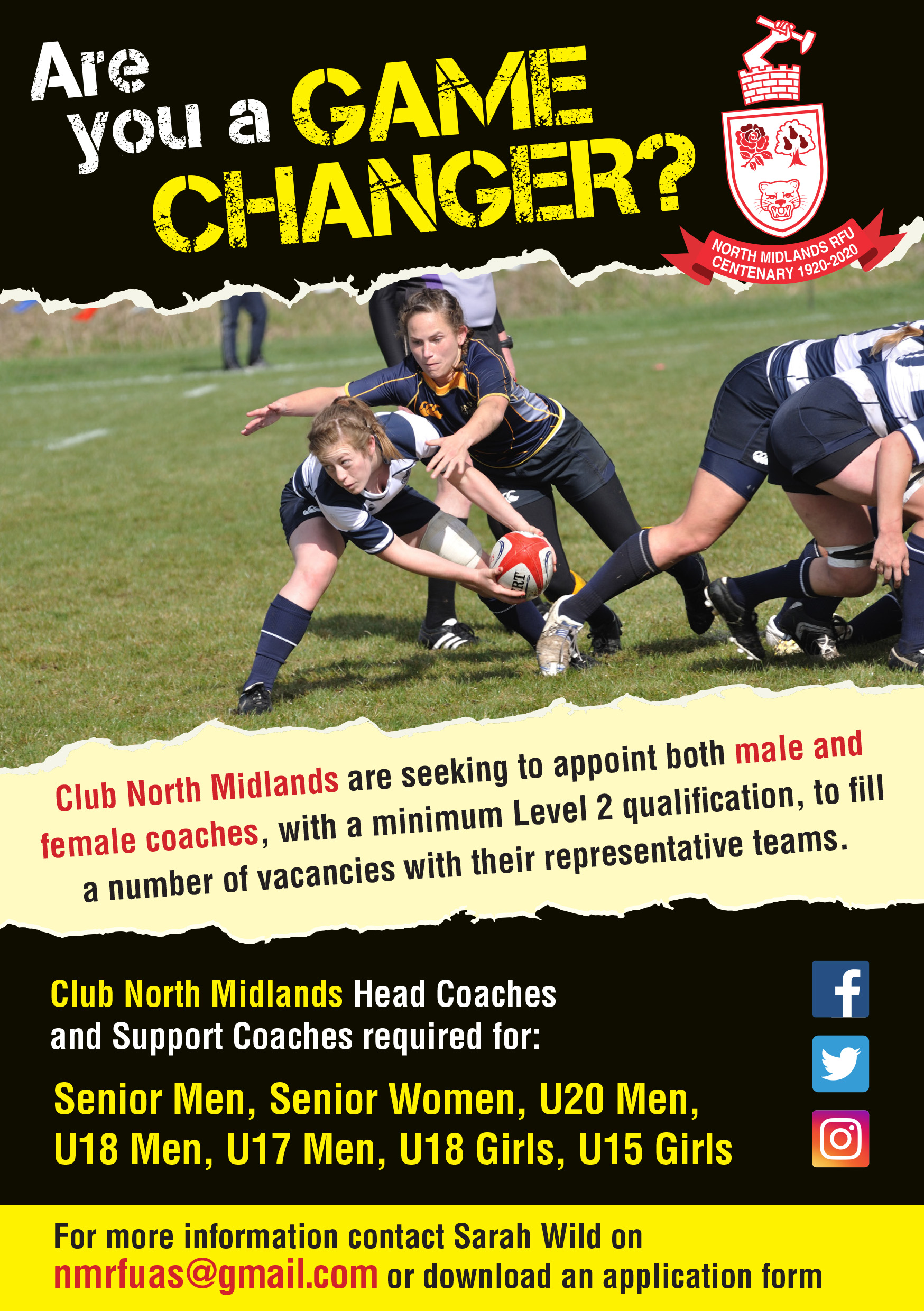 North Midlands RFU seek to appoint male and female coaches for their representative teams.