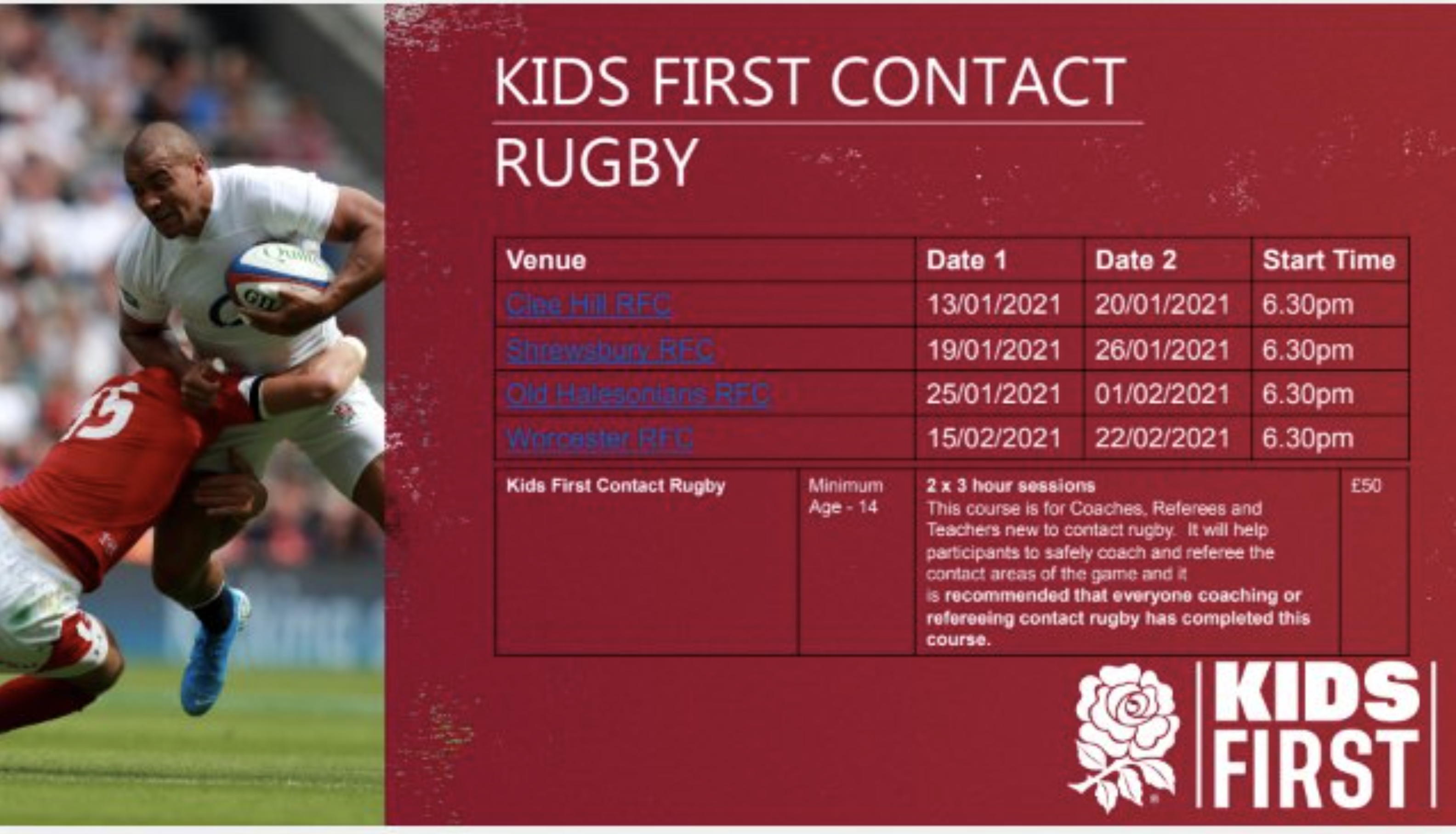 Kids First Contact Rugby Course Details