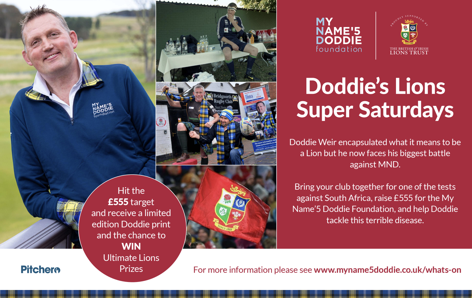 Support the British & Irish Lions on Super Saturday for MND at your club and be in the chance to win some amazing prizes